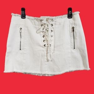 Forever 21 lace up front raw edge white jean skirt